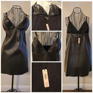 Leather spaghetti strap dress